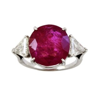 Platinum 11ct Natural Unheated Ruby and Diamond Cocktail Ring