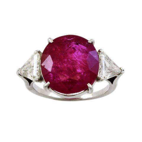 Platinum 11ct Natural Unheated Ruby and Diamond Cocktail Ring Size - 8.25
