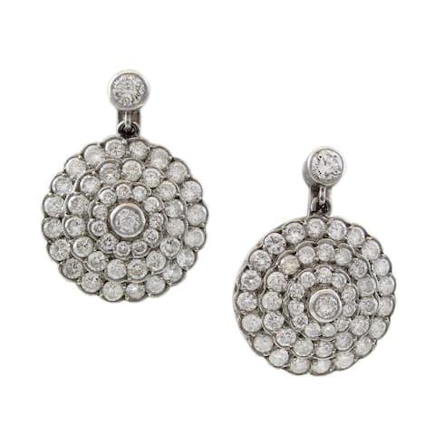 Platinum 2.5CT Diamond Antique Flower Cluster Drop Earrings