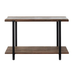 Standard Furniture Dumont Sofa Table, Brown Mahogany Finish with Black Metal Base