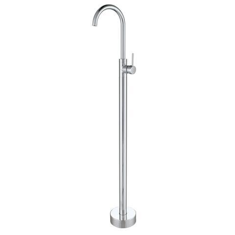 Gooseneck Chrome Floor Mounted Freestanding Bathtub Faucet