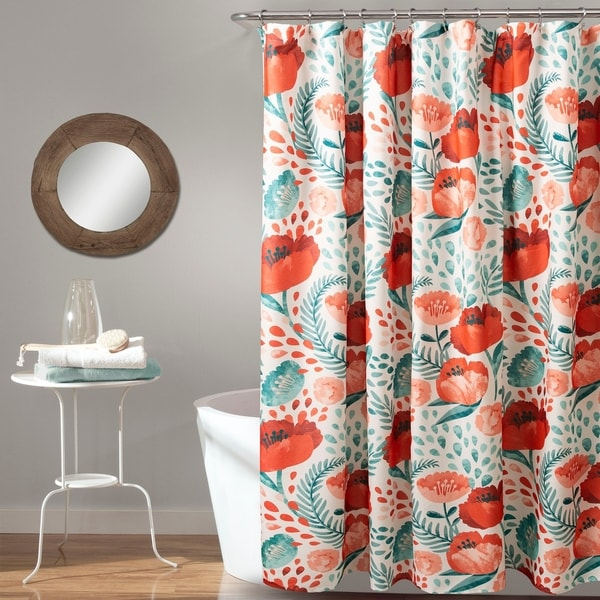 Porch & Den Egger Poppy Pattern Shower Curtain