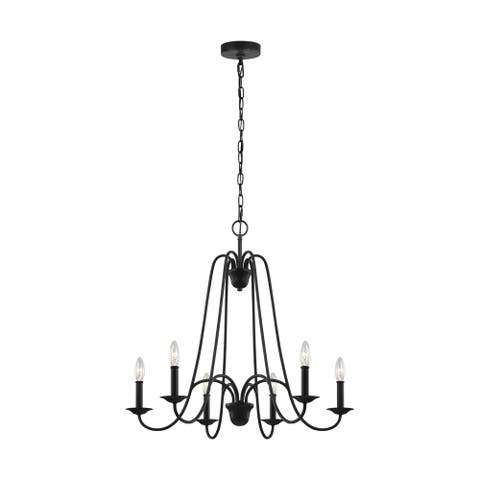 Boughton Antique Forged Iron Steel 6-light Chandelier