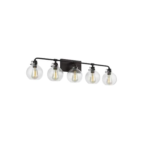 Clara Steel 5-light Vanity with Clear Seeded Shade