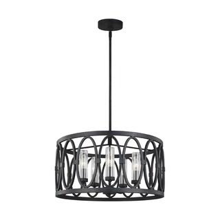 Link to Patrice Dark Weathered Zinc Steel 5-light Chandelier Similar Items in Outdoor Ceiling Lights