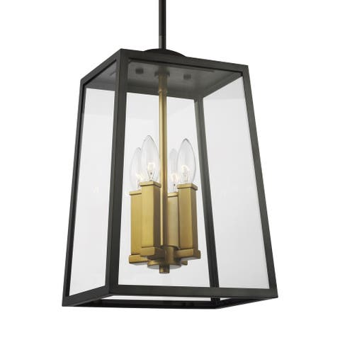 Lindbergh Antique Bronze and Painted Burnished Brass Hanging Lantern
