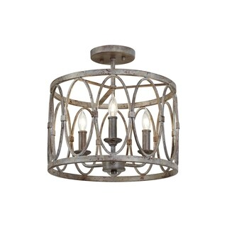 Patrice Deep Abyss Steel 3-light Semi Flush Mount
