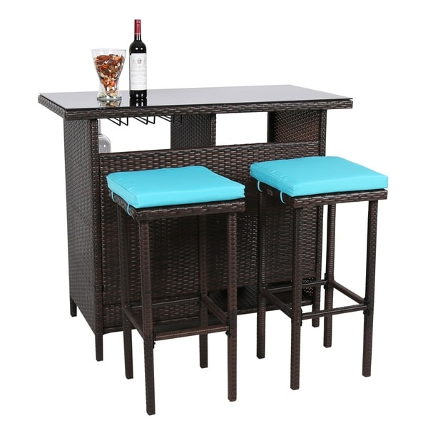 Bar Stool Dining Set: Shop Kinbor 3-Piece Patio Bar Set Wicker Bar Stools