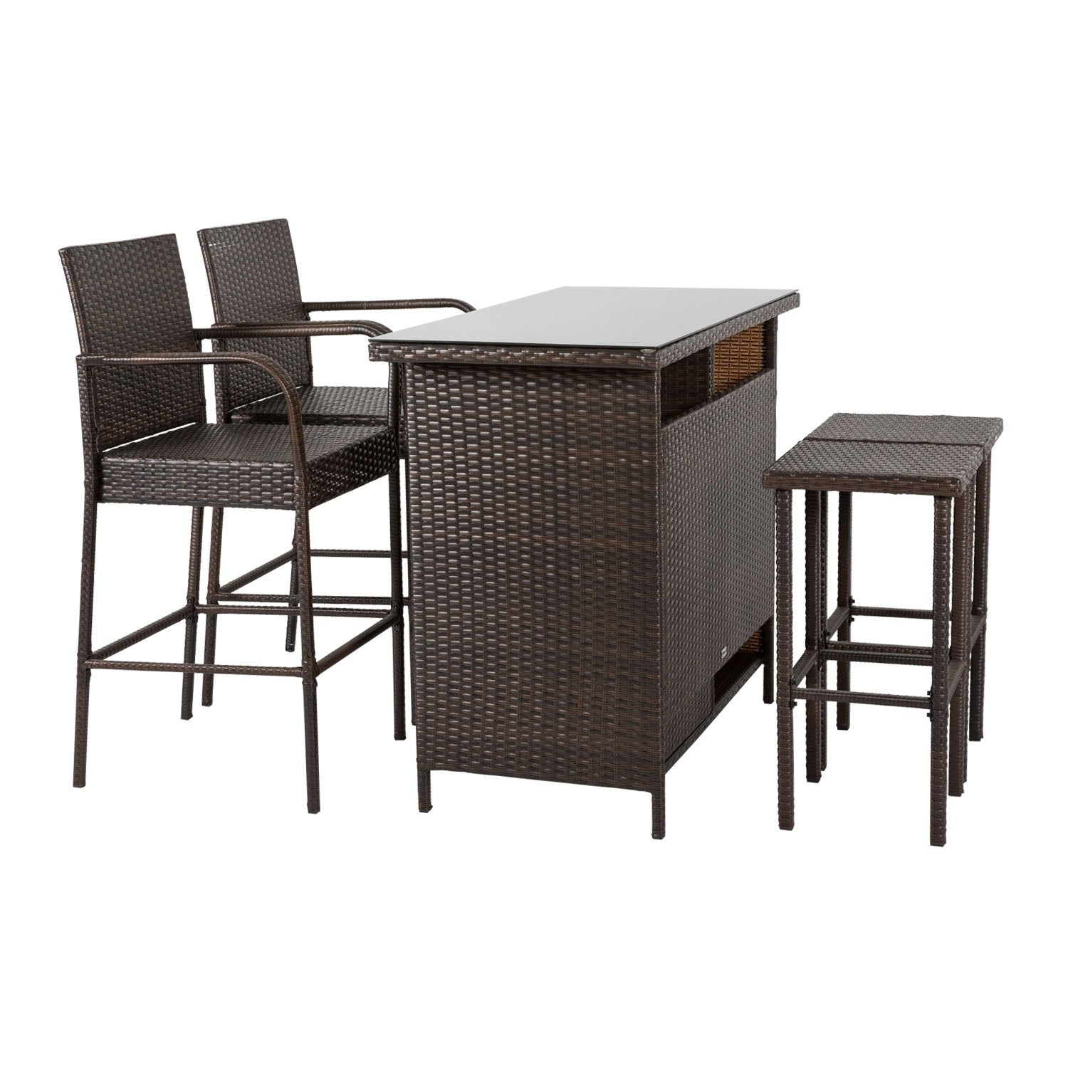Bar Square Table Wicker Rattan Outdoor Tempered Glass As Dinning Coffer Table 5 Kinbor Patio Bar Height Chairs
