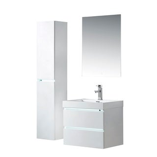 Vanity Art LED Light 24-Inch Single Sink Wall Hung Bathroom Vanity Set White Stone Top Glossy Finish with Sensor Switch