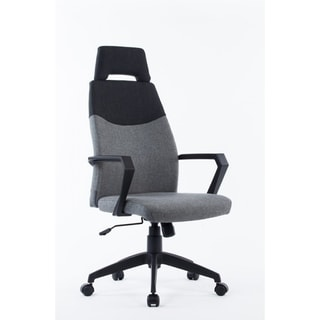 office Chair with Loop Armrests and Polygon Headrest, Gray and Black