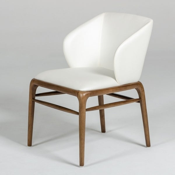 Leatherette Upholstered Wingback Design Chair with Wooden Legs and Bar Support, White and Brown