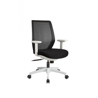 Swivel office Chair with T Shaped Armrests, Black and White