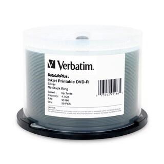 Verbatim DVD-R 4.7GB 8X DataLifePllus Silver Inkjet Printable - 50pk