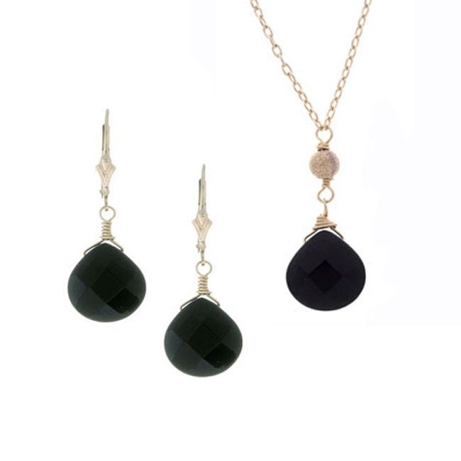 Lola's Jewelry 14k Goldfill Black Onyx Necklace and Earring Set
