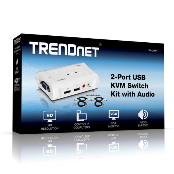 TRENDNET 2-Port usb kvm switch kit w// audio TK-209K