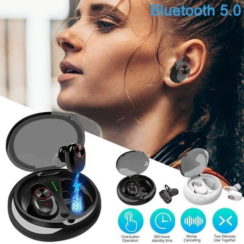 Wireless 5.0 Earbuds with Mic Charging Case Noise Cancelling Headphones