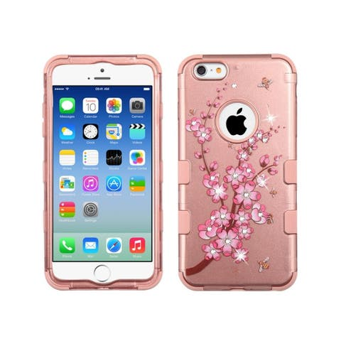 Insten Rose Gold Spring Flowers Tuff Hard Snap-on Dual Layer Hybrid Case Cover with Diamond For Apple iPhone 6/ 6s