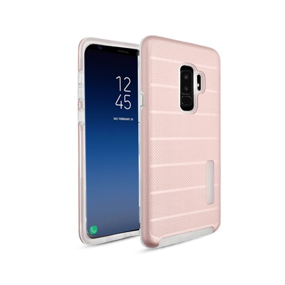 pretty nice 9ff71 839a9 Insten For Samsung Galaxy S9 Plus Rose Gold Dots Textured Fusion Hard  Hybrid Case Cover