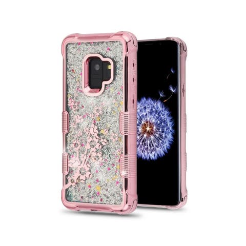 Insten For Samsung Galaxy S9 Rose Gold Quicksand Glitter Spring Flowers Hard Case Cover