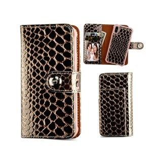 Insten For Apple iPhone X/XS Rose Gold Crocodile Detachable Magnetic Leather Case Cover