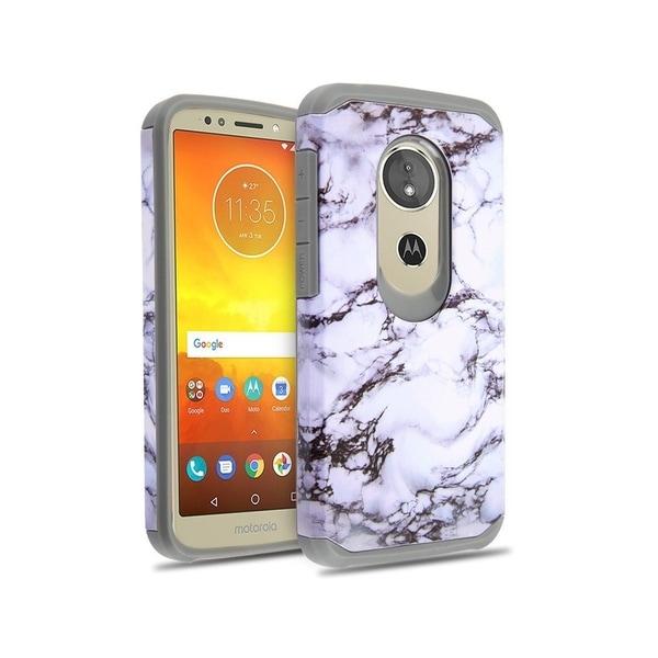 best cheap 1e527 df23d Insten For Motorola Moto E5 Cruise/E5 Play White Gray Marble Astronoot Hard  Hybrid Case
