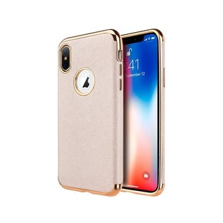 Insten For Apple iPhone XS Max Rose Gold Saffiano Luxury Leather TPU Fabric Case Cover
