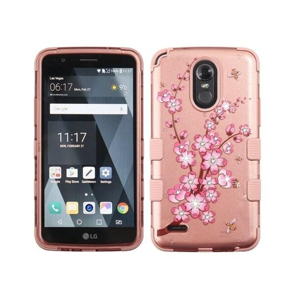 Insten For LG Stylo 3/Stylo 3 Plus Rose Gold Spring Flowers Hard TPU Hybrid  Case Cover