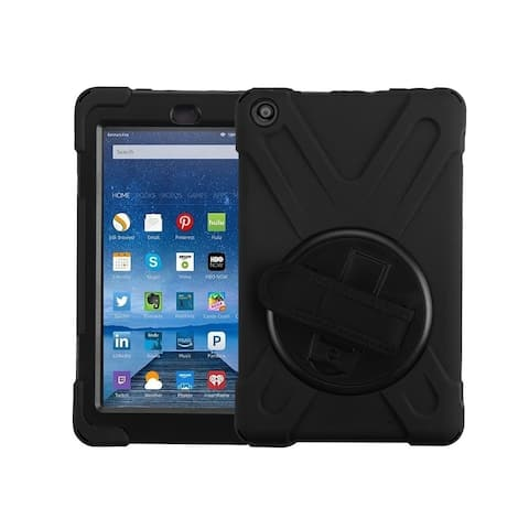 Insten For Amazon Kindle Fire HD 8-inch (2017) Black Rotatable Stand Hard Hybrid Case