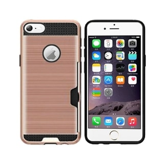 Insten For Apple iPhone 6 Plus/6s Plus Rose Gold Hard TPU Plastic Case with card slot