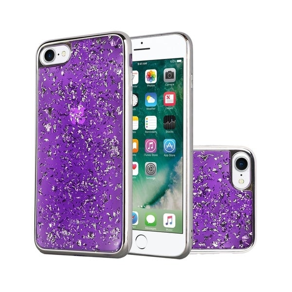 on sale 63c6e eacd0 Insten For Apple iPhone 6/6s Dark Purple Silver Frozen Glitter Hard Hybrid  Case Cover