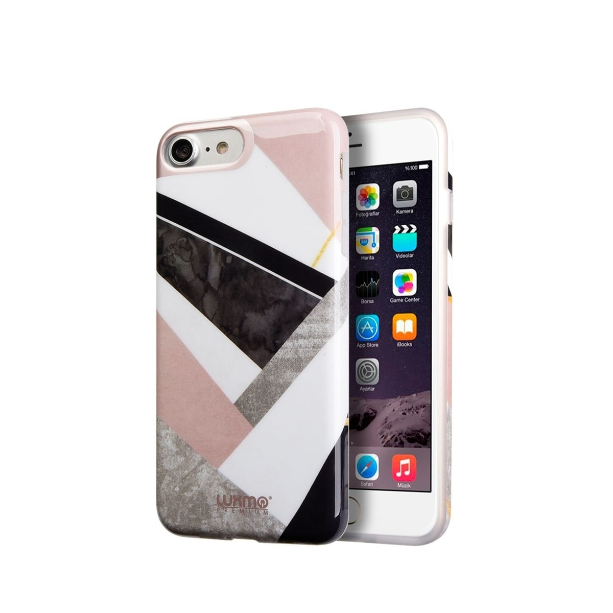 Insten For Apple iPhone 7/8 Multi-Color Geometric Marble UV Coated Rubber  Case Cover