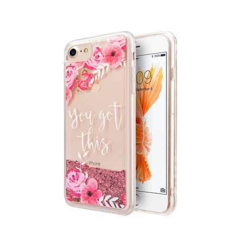 Insten For Apple iPhone 6/6s/7/8 Sparkling QuickSand Flowers Rubber Hybrid Case Pink