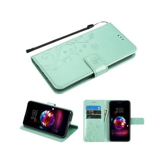 Insten For LG K10 (2018)/K30/Premier Pro LTE Teal 3D Butterfly Leather Case w/stand