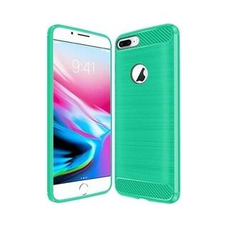 Insten For Apple iPhone 8 Plus Teal Carbon Fiber Hard TPU Hybrid Brushed Case Cover