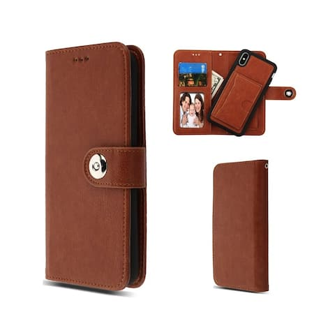 Insten For Apple iPhone XS Max Brown Detachable Magnetic Leather Fabric Wallet Case