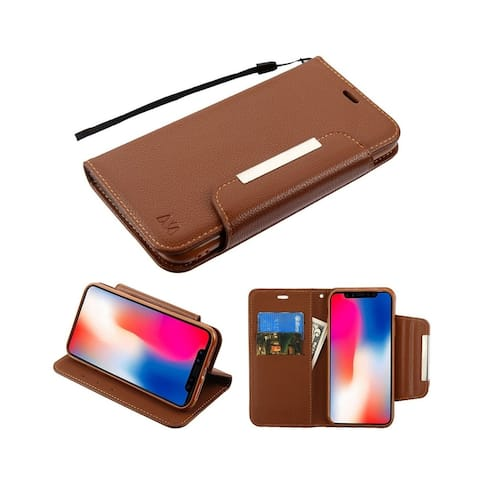 Insten For Apple iPhone XR Brown MyJacket Leather Fabric Case Cover w/stand Lanyard