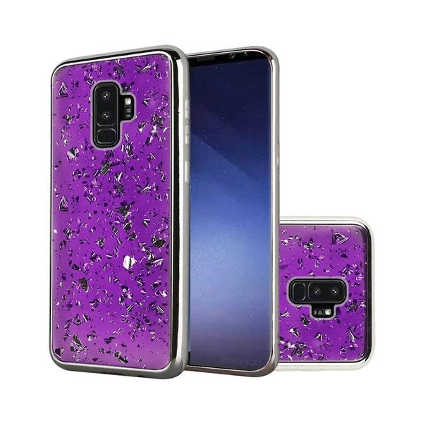 wholesale dealer ad37d de1da Insten For Samsung Galaxy S9 Plus Dark Purple Frozen Glitter Hard Hybrid  Case Cover