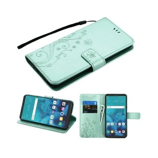Insten For LG Stylo 4 Teal Butterfly MyJacket Leather Fabric Case w/stand Lanyard