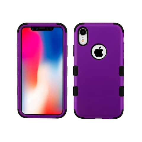 Insten For Apple iPhone XR Purple Black Tuff Hard TPU Hybrid Plastic Case Cover