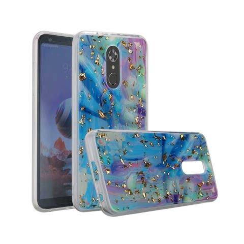 Insten For LG Stylo 4/Plus Multi-Color Marble Hard TPU Rubber Glitter Case Cover