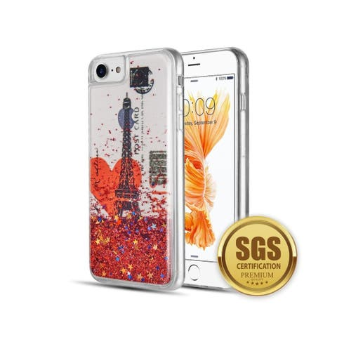 Insten For Apple iPhone 6/6s/7/8 Red Romance In Paris Waterfall Liquid TPU Case