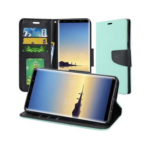 finest selection ad7b4 840e5 Shop Insten For Samsung Galaxy Note 8 Teal Leather Fabric Case Cover ...