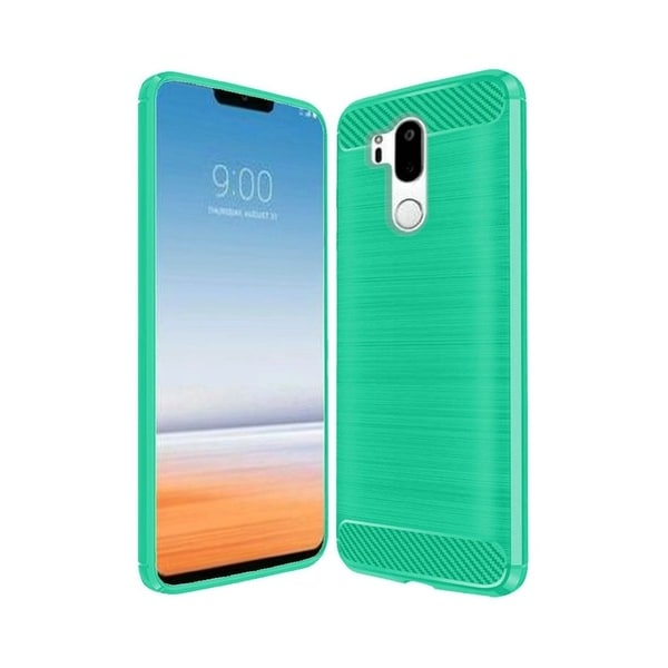online store bc9a4 6bdc4 Insten For LG G7 ThinQ Teal Carbon Fiber Hard TPU Hybrid Brushed Case Cover