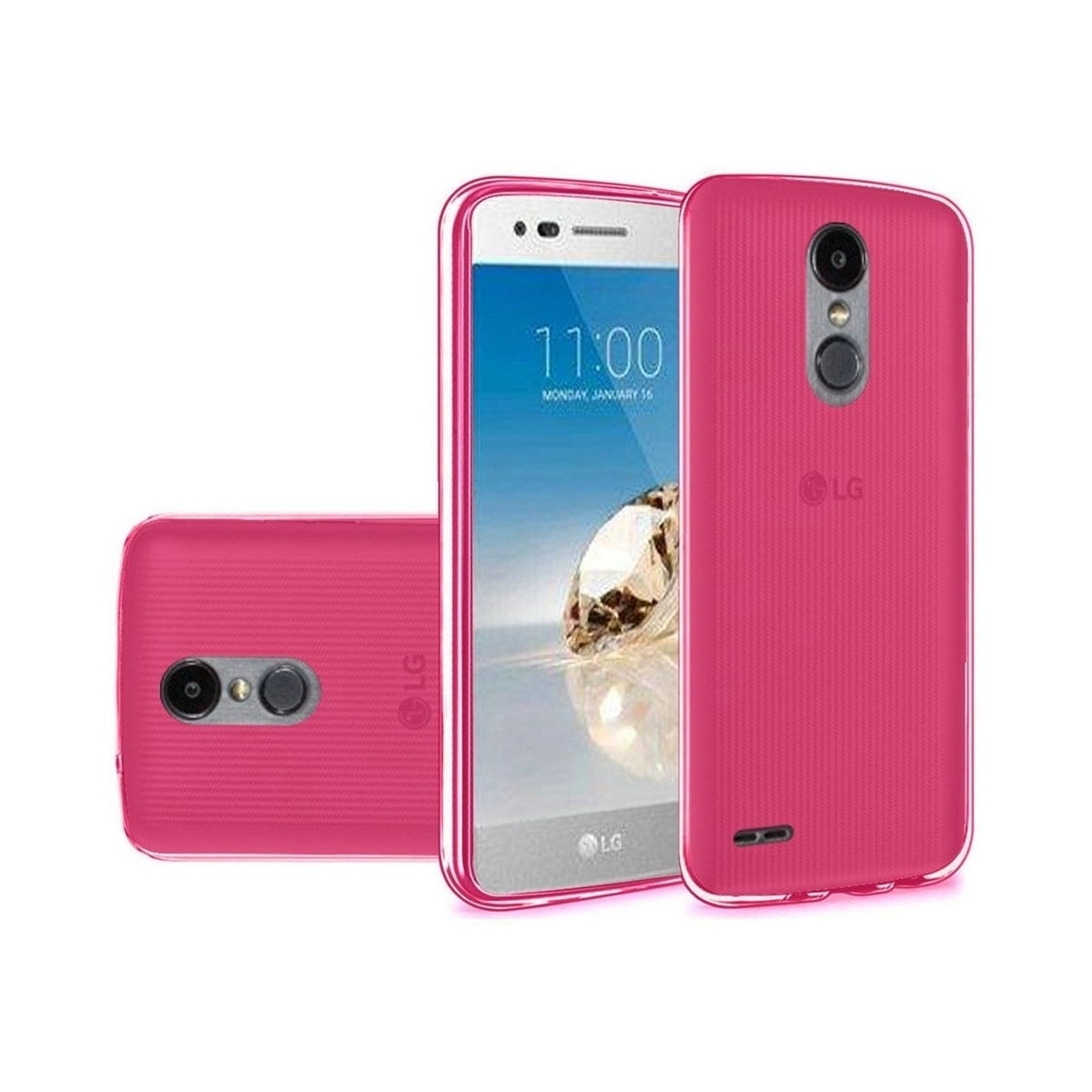 Insten For LG Aristo 2/Fortune/Tribute Dynasty Clear Hot Pink Rubber Case