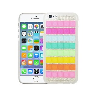 Insten Colorful 2 Rhinestone Diamond Bling Hard Case Cover For iPhone 6 6s