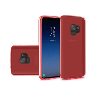 Insten For Samsung Galaxy S9 Clear TPU Rubber Red Candy Skin Case Cover