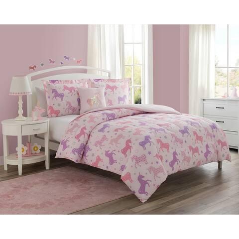Unicorn Starlight Pink 4-Piece Reversible Comforter Set Featuring Bonus Wall Decals