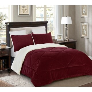 Reversible 3 piece Fleece/Sherpa Down Alternative Comforter set - King - Burgundy