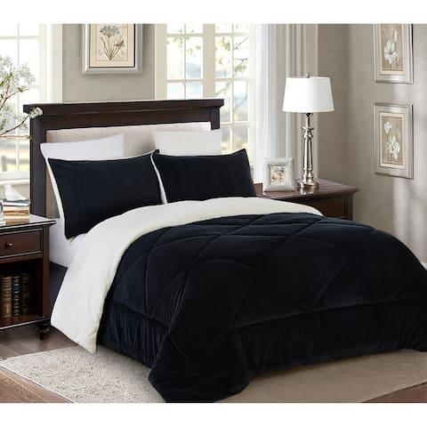 Reversible 3 piece Fleece/Sherpa Down Alternative Comforter set - King - Black